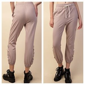 Pants - French Terry Jogger Side Ankle Lace-up & Pockets